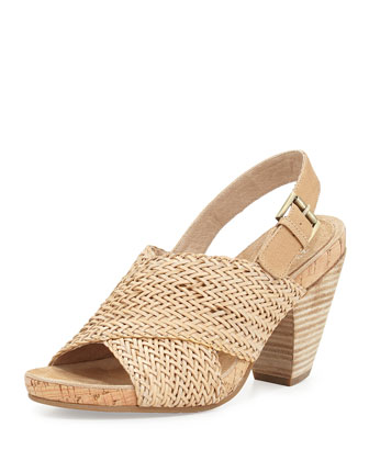Gaze Braided Mid-Heel Sandal, Latte