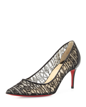 Saramor Lace Red Sole Pump, Black