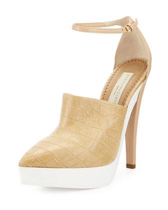 Croc-Embossed Faux-Leather Sandal, Cream