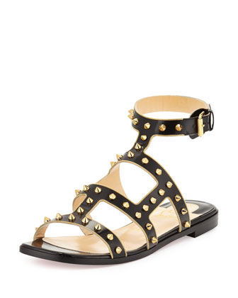 Sexystrapi Jazz Flat Red Sole Sandal, Black/Gold
