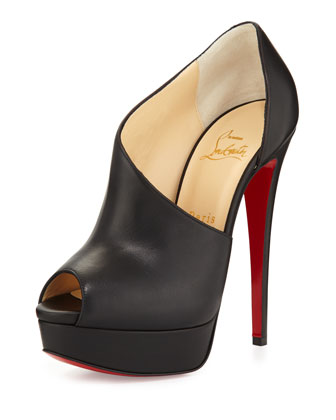 Verita Asymmetric Red Sole Bootie, Black