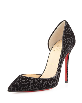 Iriza Half-d'Orsay Red Sole Pump, Black/Leopard