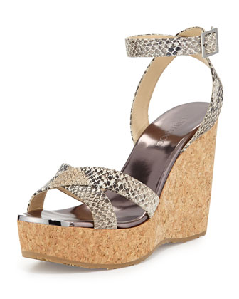 Papyrus Snake-Embossed Wedge Sandal, Natural
