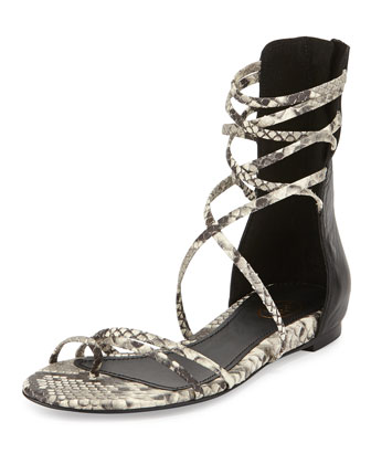 Octopus Snake-Embossed Leather Gladiator Sandal, Roccia