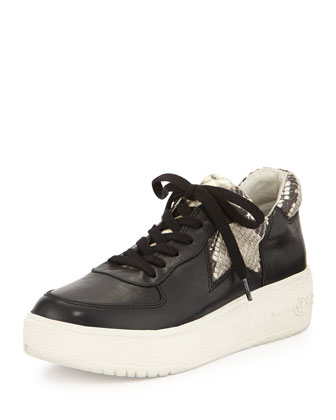 Fool Platform Leather Sneaker, Black