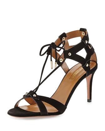 Bel Air Suede Cage-Heel Sandal, Black