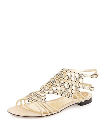 Crystal Caged Flat Sandal, Platinum/Black