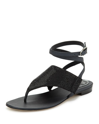 Embellished Ankle-Wrap Sandal, Black