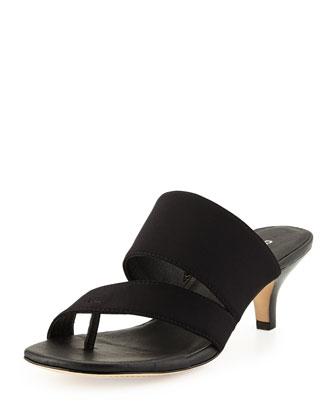 Ruge Kitten-Heel Sandal, Black