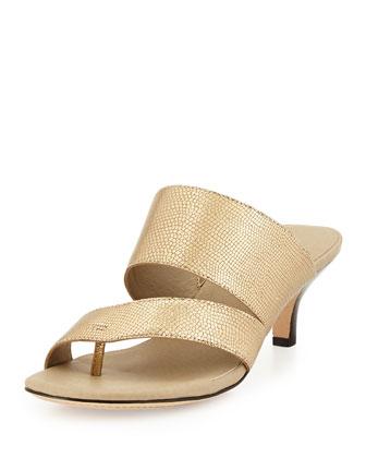 Ruge Kitten-Heel Sandal, Gold