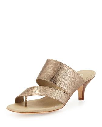 Ruge Kitten-Heel Sandal, Silver