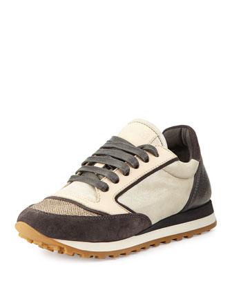 Metallic Low-Top Sneaker, Graphite/Gold