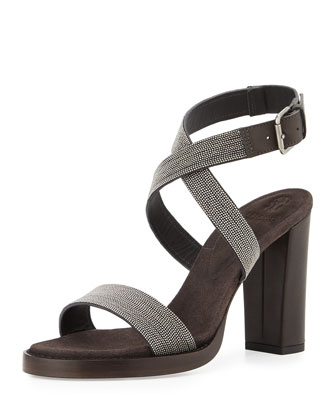 Monili Crisscross High-Heel Sandal, Graphite