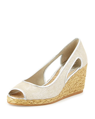 Charlot Open-Toe Wedge Pump, Silver