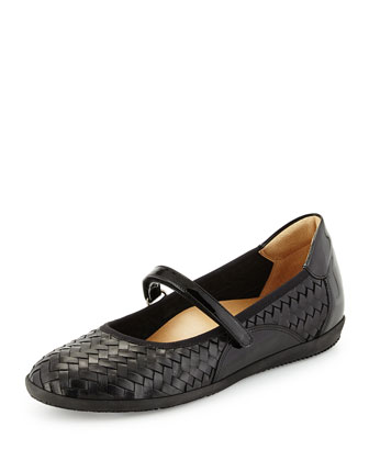 Halona Woven Leather Mary Jane Slip-On, Black