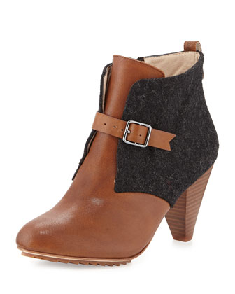 Selby Wool Panel Ankle Boot, Charcoal