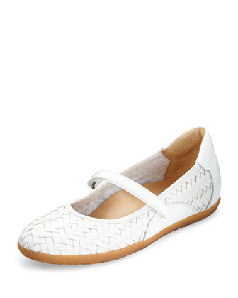 Halona Woven Leather Slip-On, White