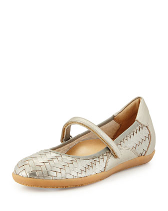 Halona Woven Leather Slip-On, Pewter