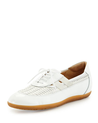 Haldor Woven Leather Sneaker, White