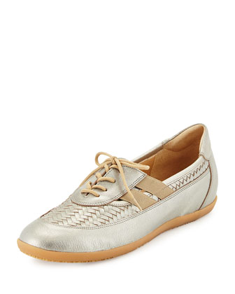 Haldor Woven Leather Sneaker, Pewter