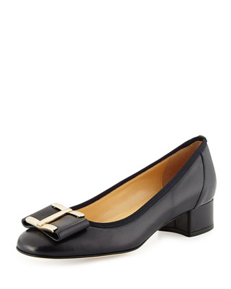Ramie Napa Bow Pump, Navy