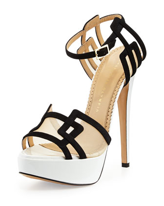 Geometric Leather Platform Sandal, Black/White