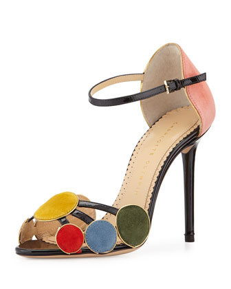 Contemporary Suede Circle Sandal, Multi