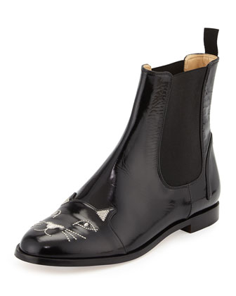 Chelsea Cats Pull-On Boot, Black