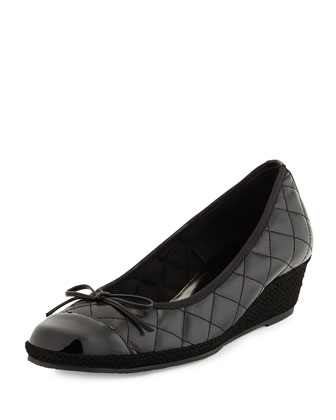 Margie Quilted Leather Wedge Pump, Black
