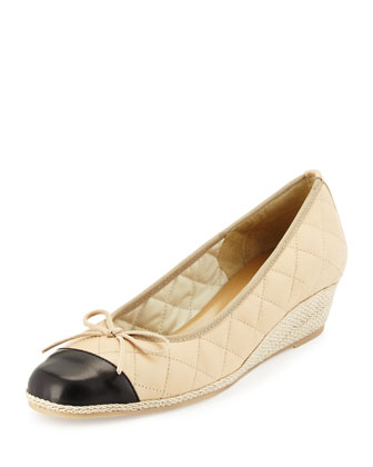 Margie Quilted Leather Wedge Pump, Pudding/Black