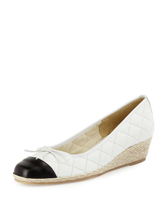 Margie Quilted Leather Wedge Pump, White/Black