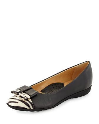 Breena Sport-Bottom Ballet Flat, Black/White