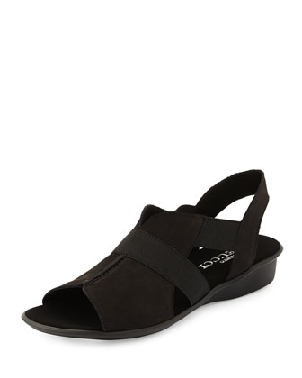 Estelle Strappy Stretch Sandal, Black Retro