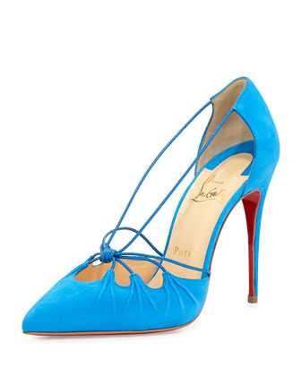Riri Knotted Red Sole Pump, Blue