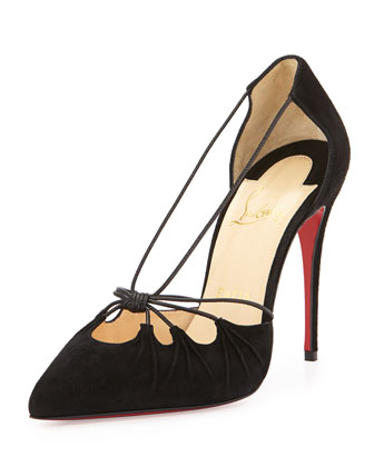 Knotted-Front Suede Red Sole Pump, Black