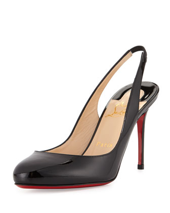 Fifi Patent Red Sole Pump, Black