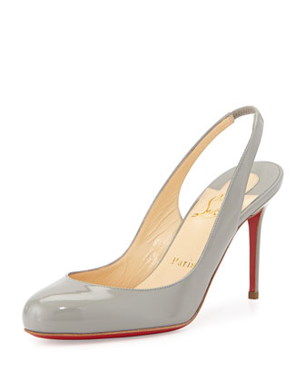 Fifi Patent Slingback Red Sole Pump, Gray