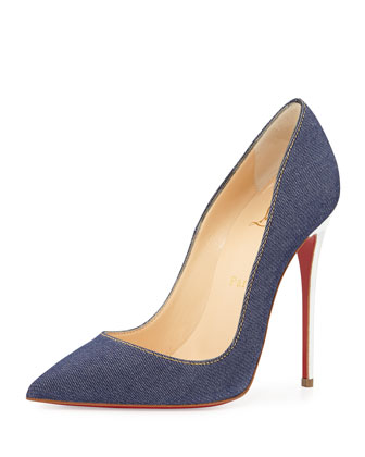 So Kate Denim Red Sole Pump, Navy
