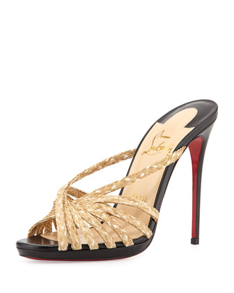 Rafimule Red Sole Mule Sandal, Black