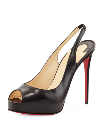 Private Number Slingback Red Sole Pump, Black