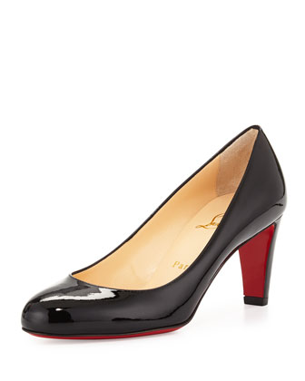 Fififa Patent Red Sole Pump, Black