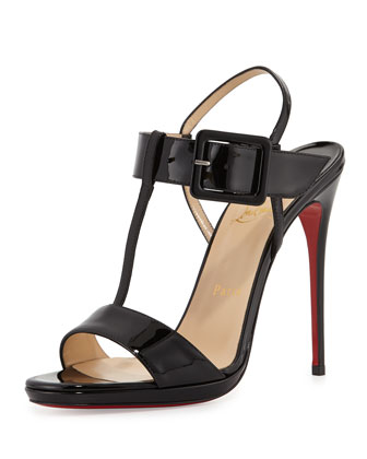 Beltega Patent Red Sole Sandal, Black
