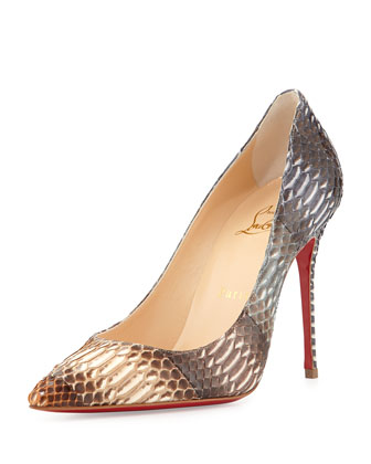Decollete Snakeskin Red Sole Pump, Gray/Multi