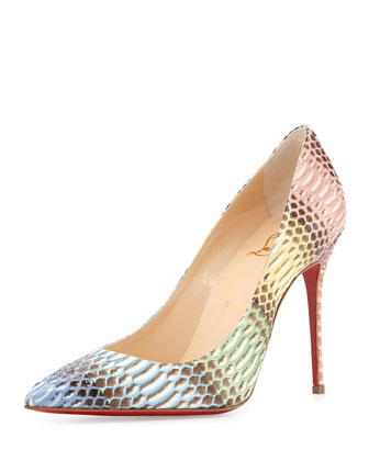 Decollete Snakeskin Red Sole Pump, Blue/Multi