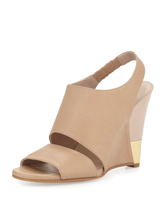 Open-Toe Leather Wedge Sandal, Nude