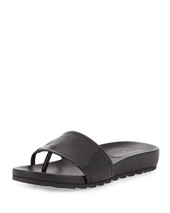 Tiso Patent Leather Sandal Slide, Black