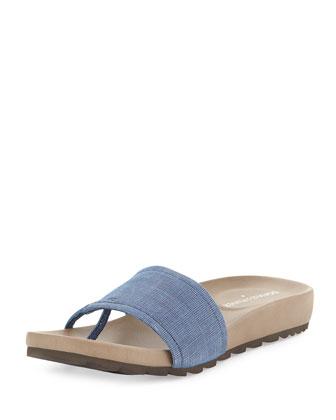 Tiso Distressed Leather Sandal Slide, Blue