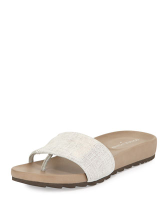 Tiso Distressed Leather Sandal Slide, Pewter