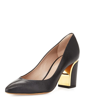 Metal-Trim Leather Pump, Black