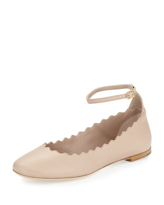 Wavy Ankle-Strap Ballerina Flat, Nude